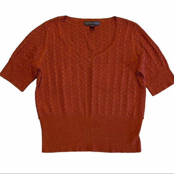JOSEPHINE CHAUS V-Neck Short Sleeve Sweater